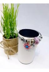BAE0014-Pink Sunflower Charm Bracelet