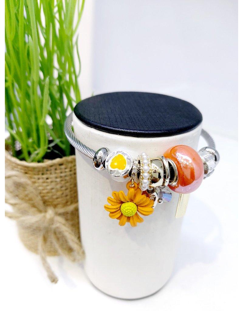 BAE0013-Orange Sunflower Charm Bracelet