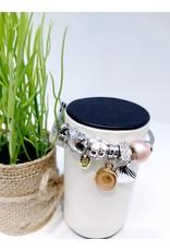 BAE0016-Pink Flower Charm Bracelet