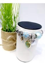 BAE0015-Blue Flower Charm Bracelet