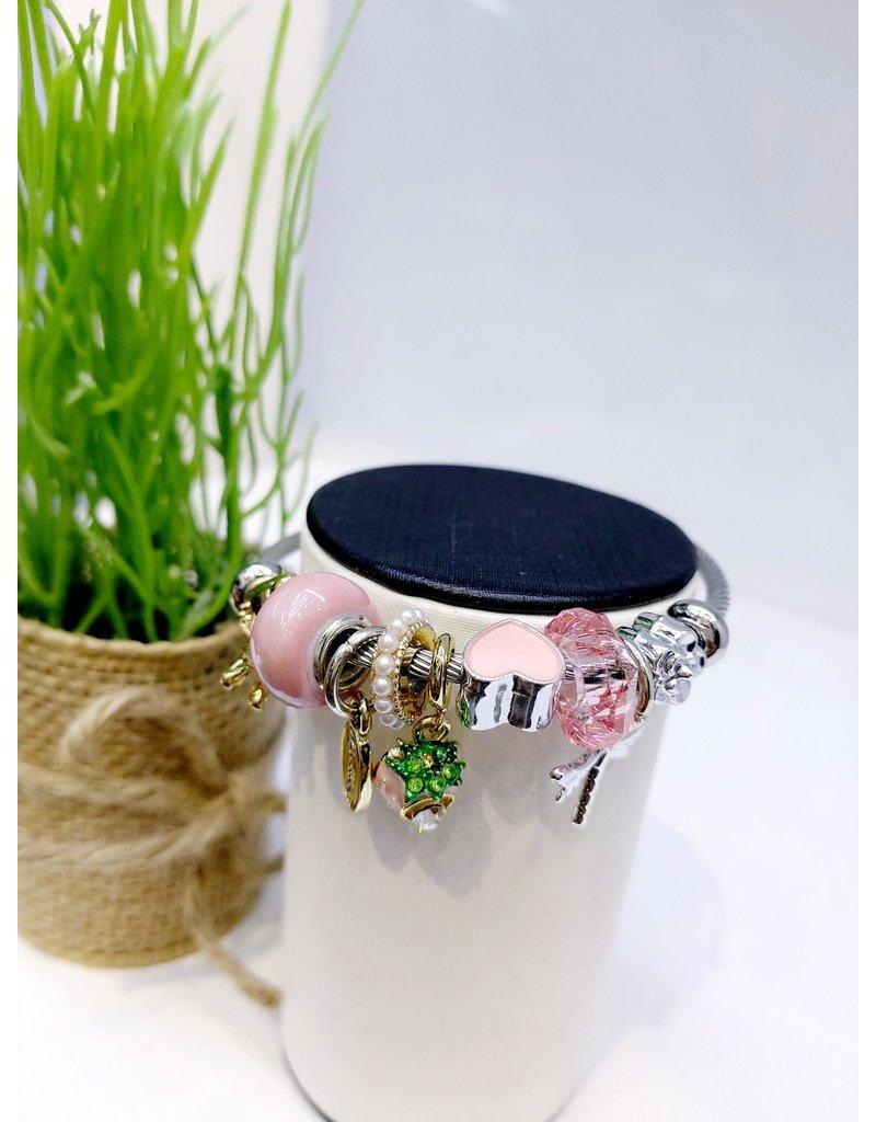 BAE0018-Pink Strawberry Charm Bracelet