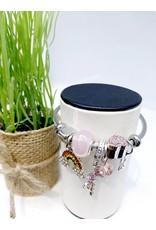 BAE0021-Pink Palm Charm Bracelet