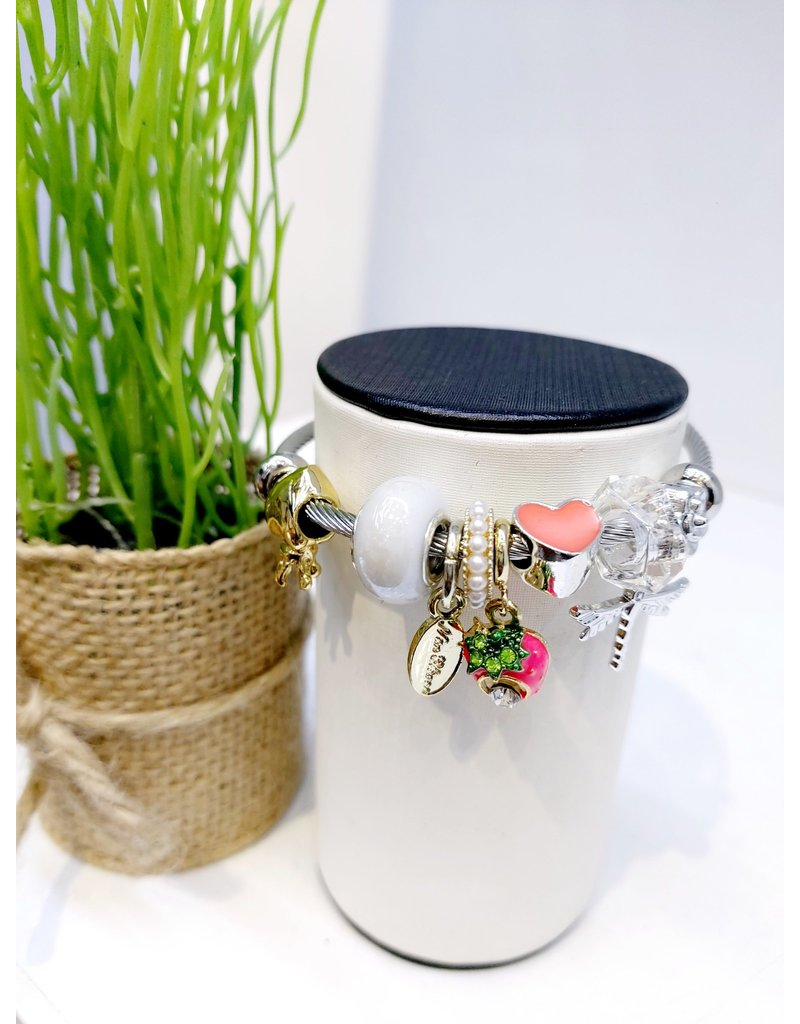 BAE0019-Dark Pink Strawberry Charm Bracelet