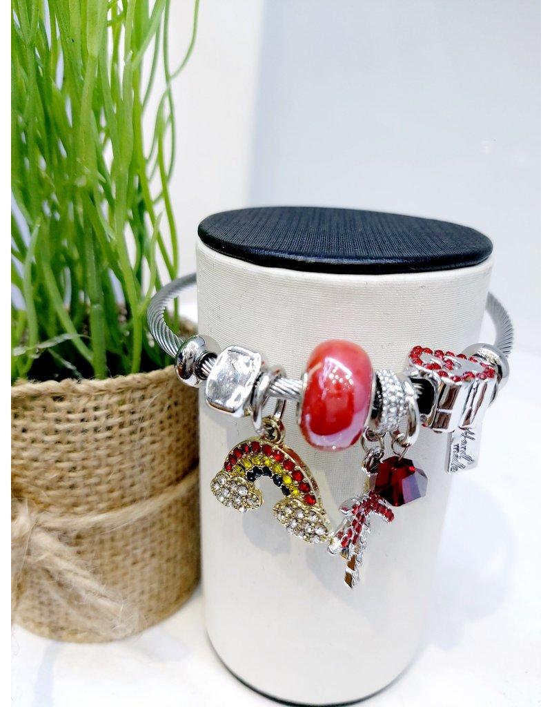 BAE0020-Red Palm Charm Bracelet