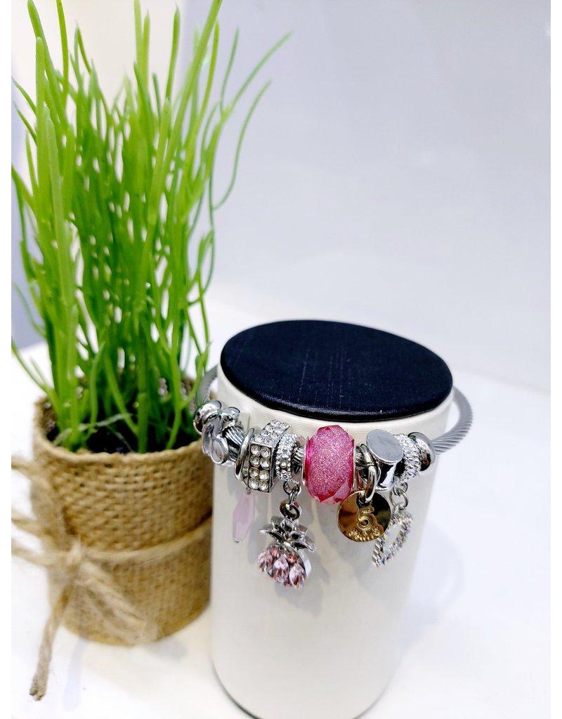 BAE0007-Pink Pineapple Charm Bracelet
