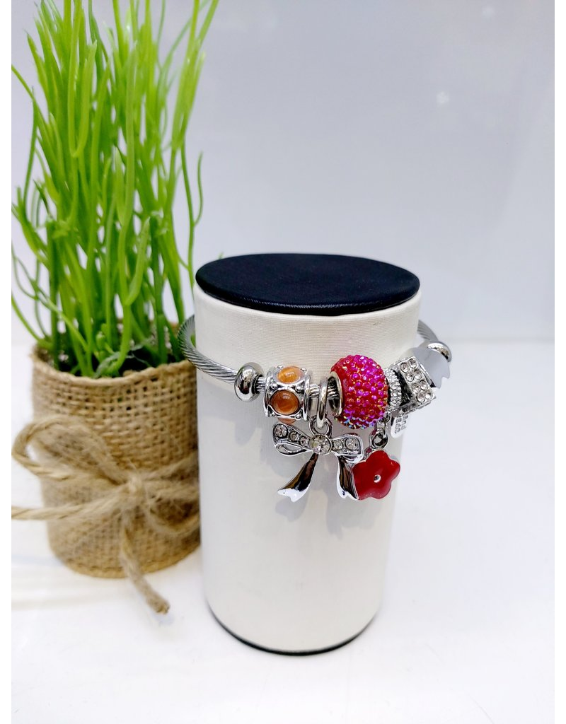 BAE0065-Pink Circle Charm Bracelet