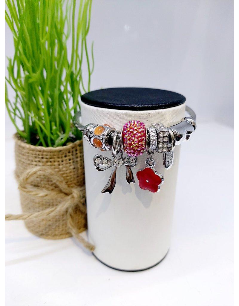 BAE0064-Pink Circle Charm Bracelet