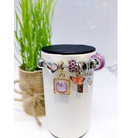 BAE0049-Light Purple Butterfly Charm Bracelet