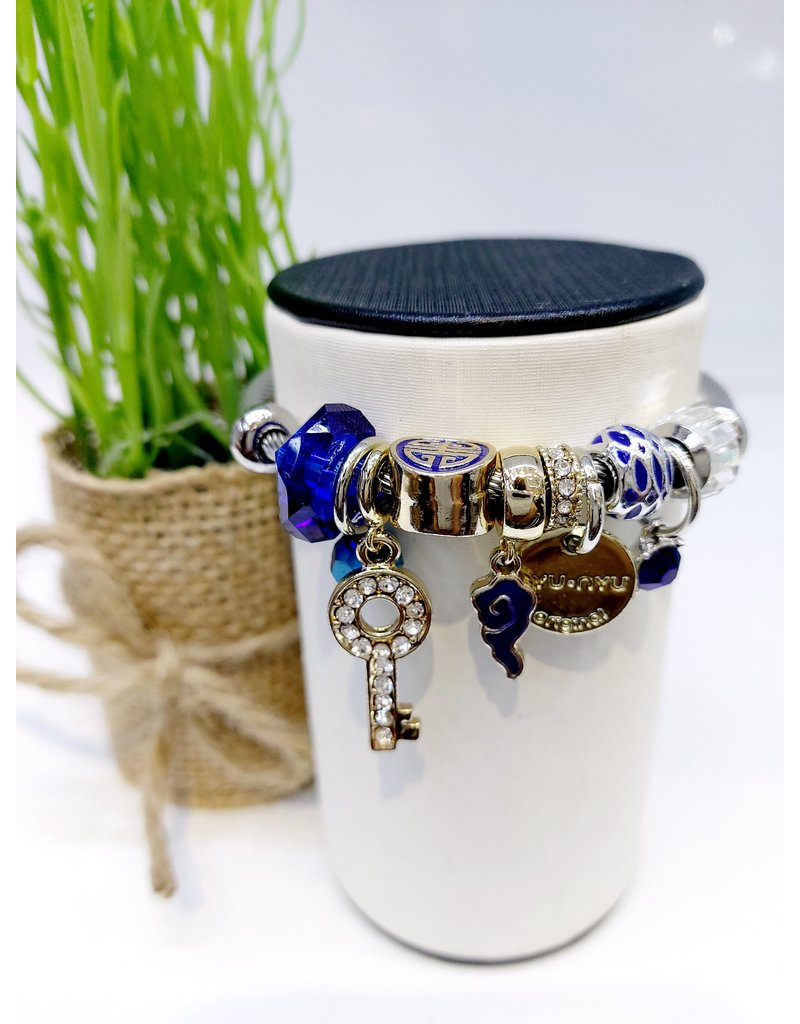 BAE0043-Blue Circle Charm Bracelet