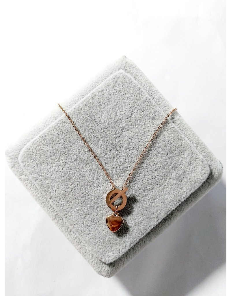 Scb0017 - Rose Gold - Heart Stainless Steel Short Chain
