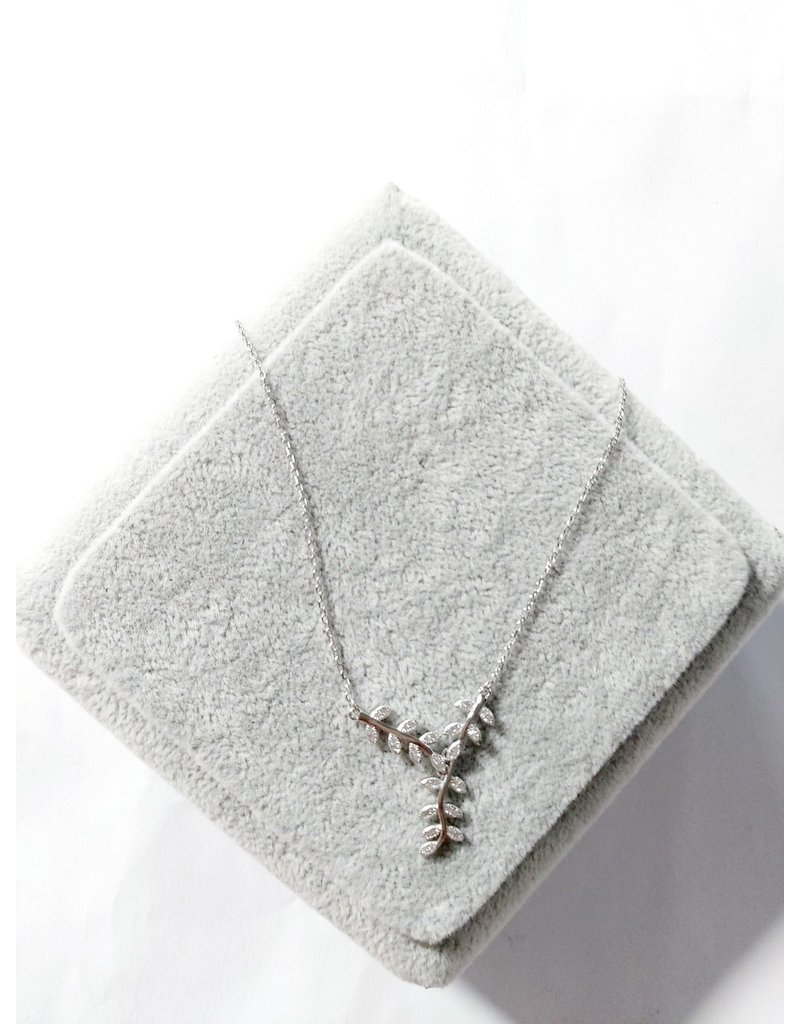 Scb0028 - Silver - Sterling Silver Leaf Short Chain