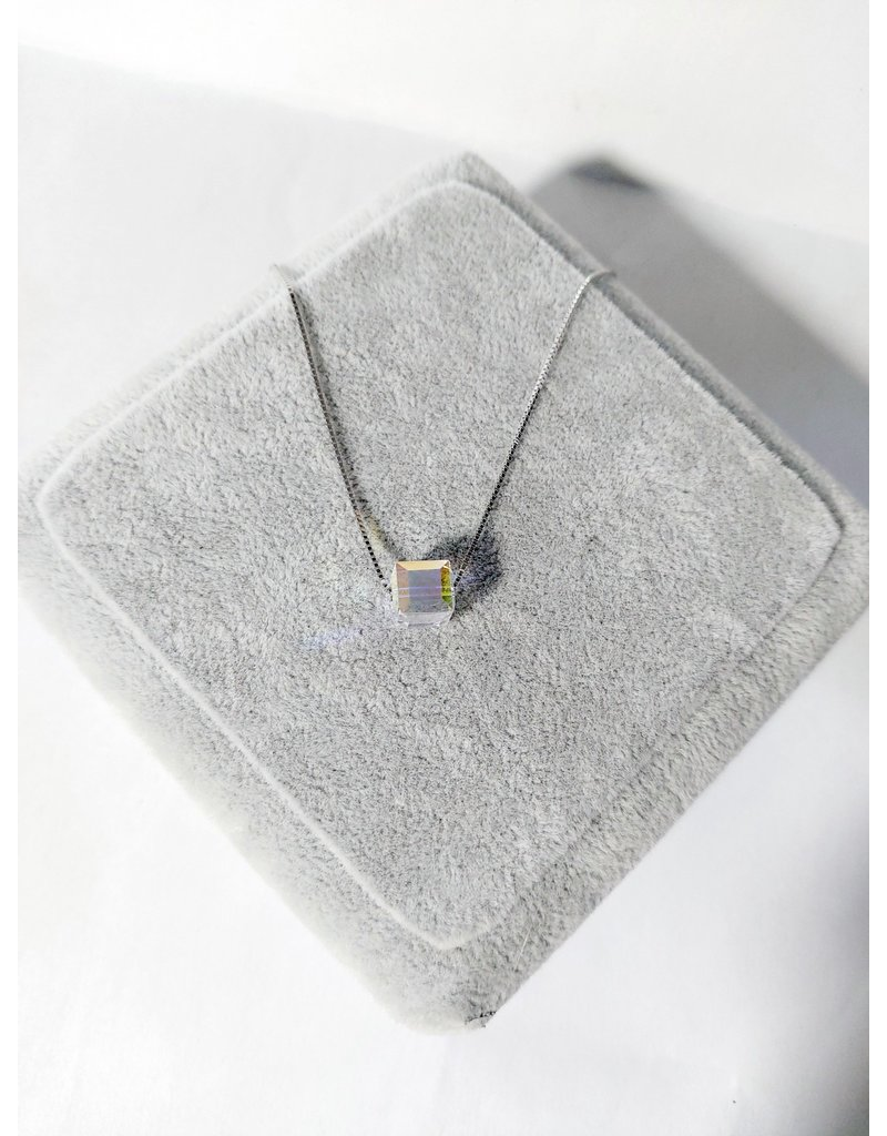 Scb0029 - Silver - Cube Crystal Sterling Silver Short Chain