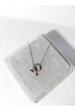 Scb0032 - Silver - Rose Gold Circle, Butterfly Sterling Silver Short Chain
