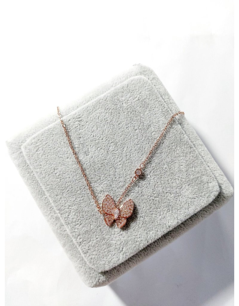 Scb0034 - Rose Gold - Butterfly Short Chain