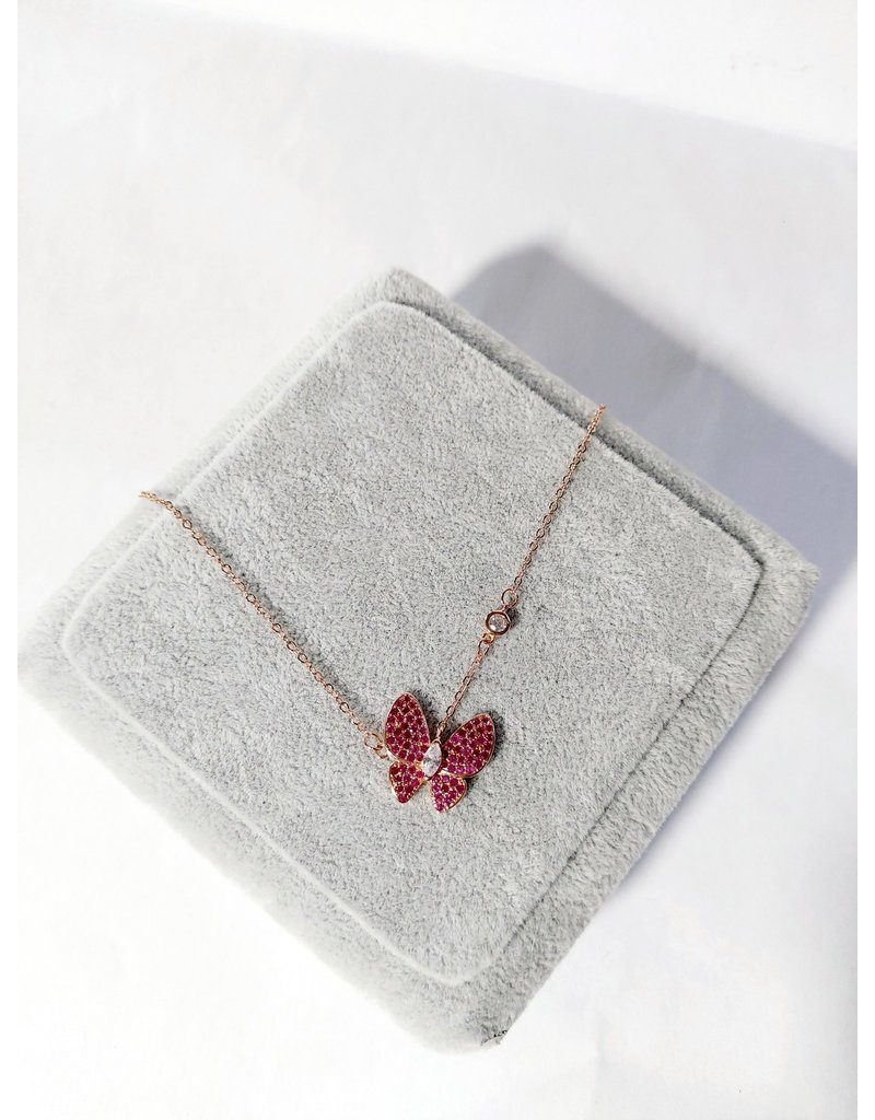 Scb0035 - Rose Gold - Butterfly Cerise Short Chain