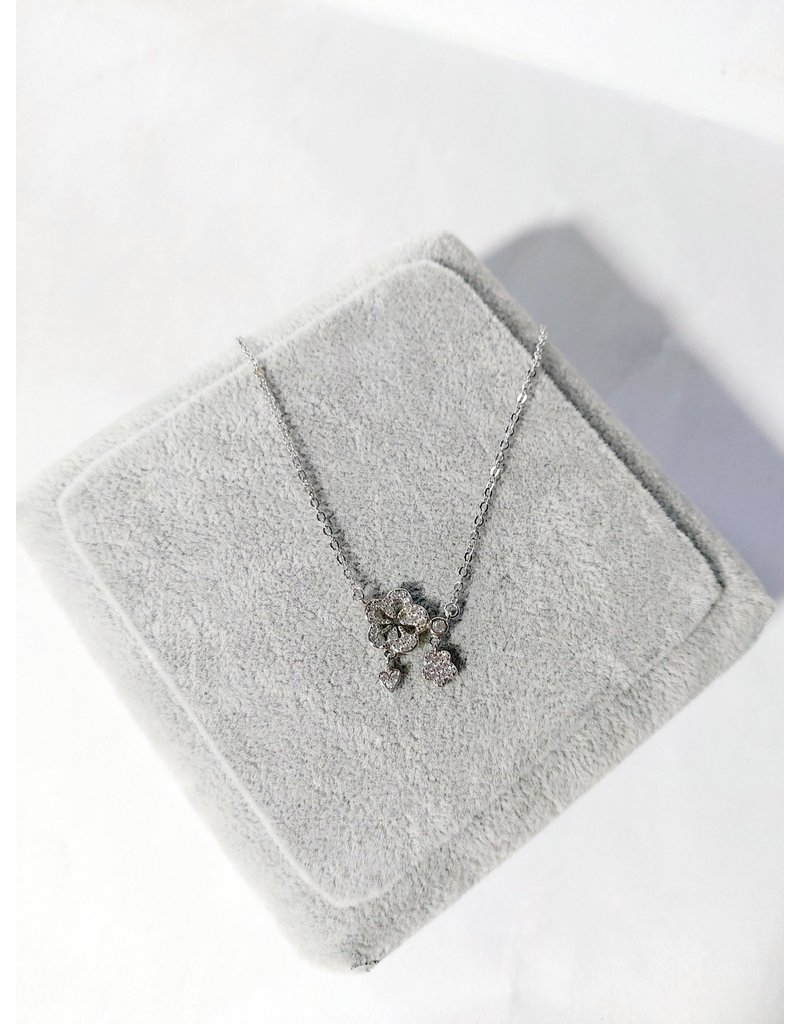 Scb0090 - Silver - Flowers Short Chain