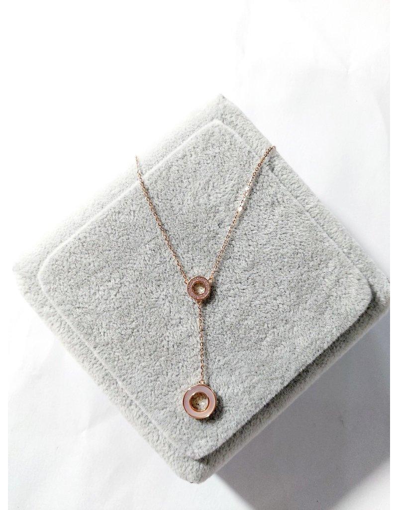 Scb0109 - Rose Gold Circle  Short Chain