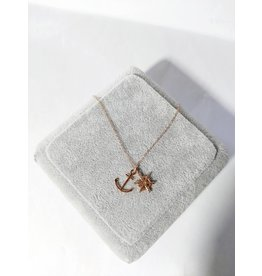 Scb0135 - Rose Gold Anchor  Short Chain