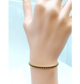 BCF0019-Gold, Black Bracelet
