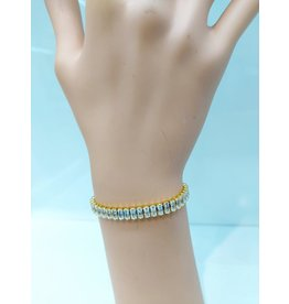 BCF0018-Gold, Square Crystal Bracelet