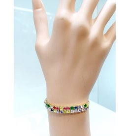 BCF0016-Gold, Multicolour Bracelet