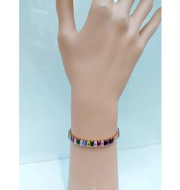 BCF0015-Gold, Multicolour, Thin Baguette Crystal Bracelet