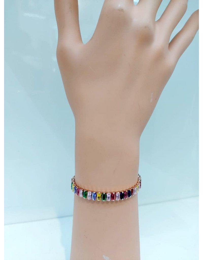 BCF0015-Gold, Multicolour, Thin Baguette Crystal Bracelet
