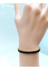 BCF0014-Gold, Black Bracelet