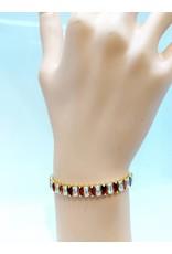 BCF0013-Gold, Red Baguette Adjustable Bracelet
