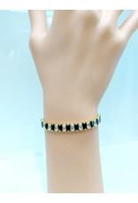 BCF0012-Gold, Black Baguette Adjustable Bracelet