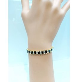 BCF0012-Gold, Black Baguette Adjustable Bracelet