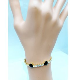 BCF0008-Gold, Black Heart Bracelet