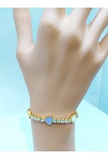 BCF0007--Gold, White, Purple, Yellow Heart Bracelet