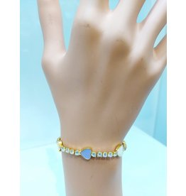 BCF0007--Gold, White, Purple, Yellow Heart Bracelet