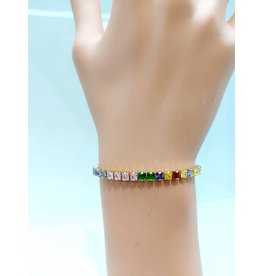 BCF0017-Gold, Multicolour, Square Crystal Bracelet