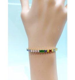BCF0017-Gold, Multicolour, Square Crystal Bracelet