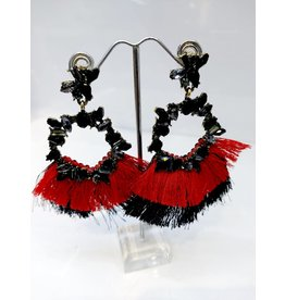 ERF0008 - RED, BLACK TASSLE