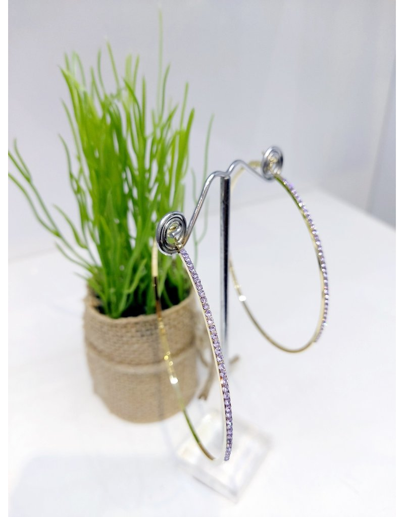 ERF0161 - Gold, Purple Hoop Earring