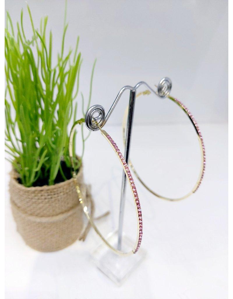 ERF0189 - Gold, Pink Hoop Earring