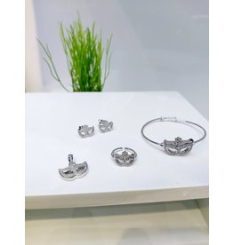 KJA0001 - Silver Mask Kids Pendant, Earring, Bracelet And Ring Set
