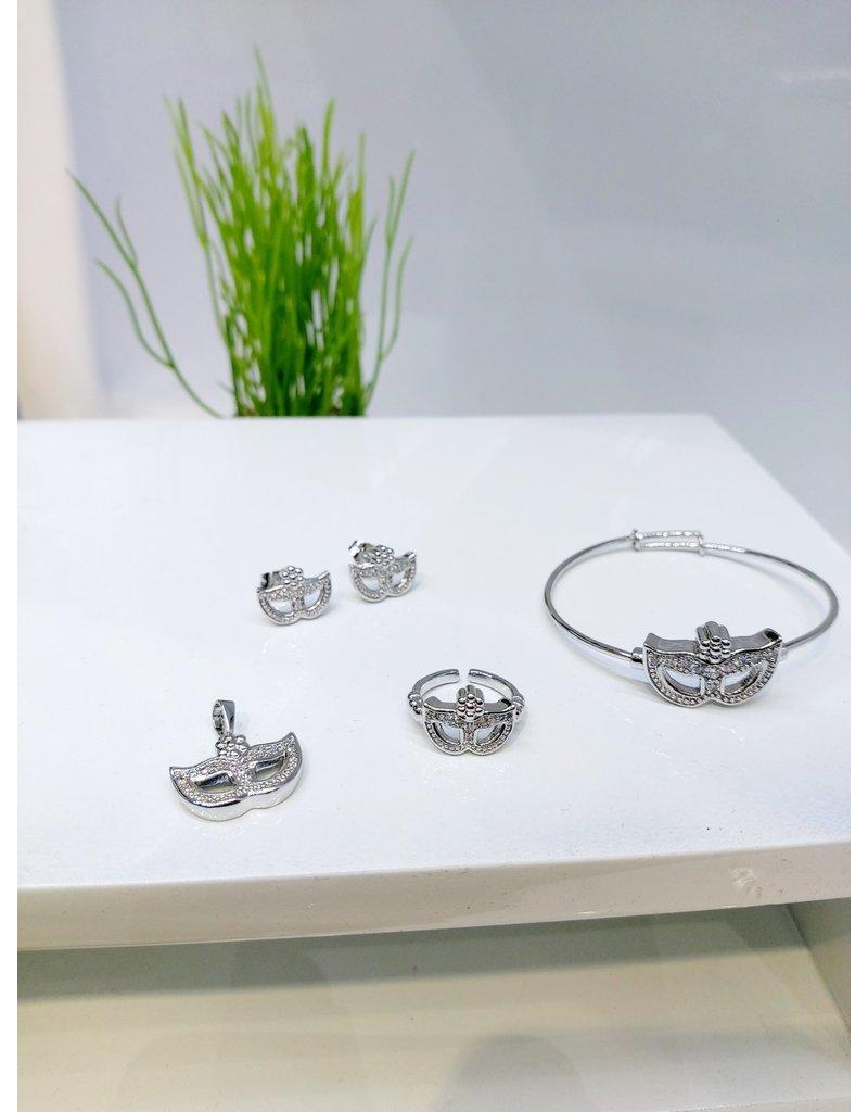 KJA0001 - Silver Mask Kids Pendant, Earring, Bracelet And Ring Set