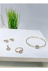 KJA0002 - Gold Heart Kids Pendant, Earring, Bracelet And Ring Set