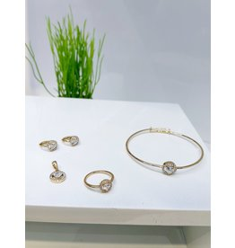 KJA0002 - Gold Heart Kids Pendant, Earring, Bracelet And Ring Set