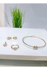 KJA0003 - Gold Butterfly Kids Pendant, Earring, Bracelet And Ring Set