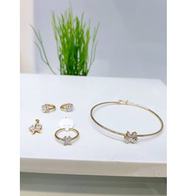 KJA0003 - Gold Butterfly Kids Pendant, Earring, Bracelet And Ring Set