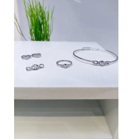 KJA0004 - Silver  Kids Pendant, Earring, Bracelet And Ring Set