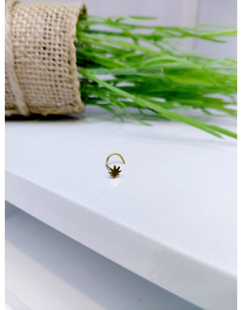 NRB0002 - Gold Gold Plant Screw Nose Ring