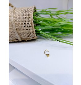 NRB0004 - Gold Heart Gold Screw Nose Ring