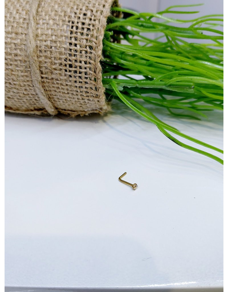NRB0012 - Gold Xs Stone L-Shaped  Nose Ring