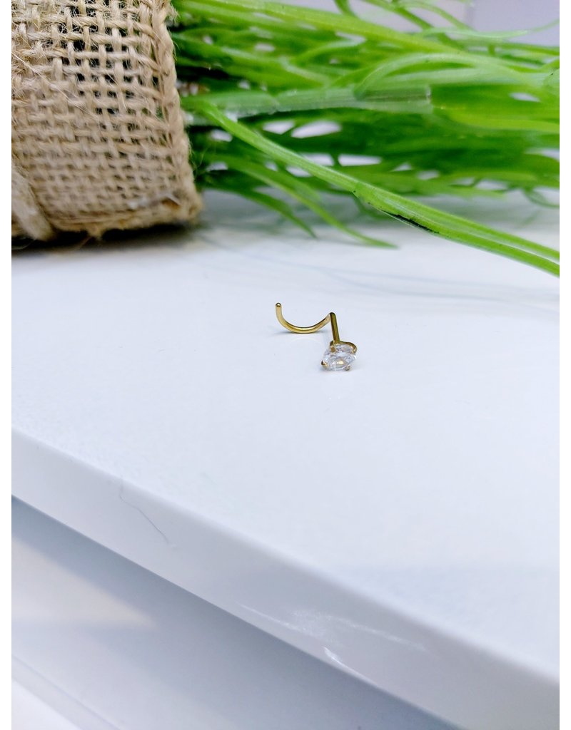 NRB0032 - Gold Stone Screw Nose Ring